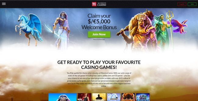 Mansion Casino's home page